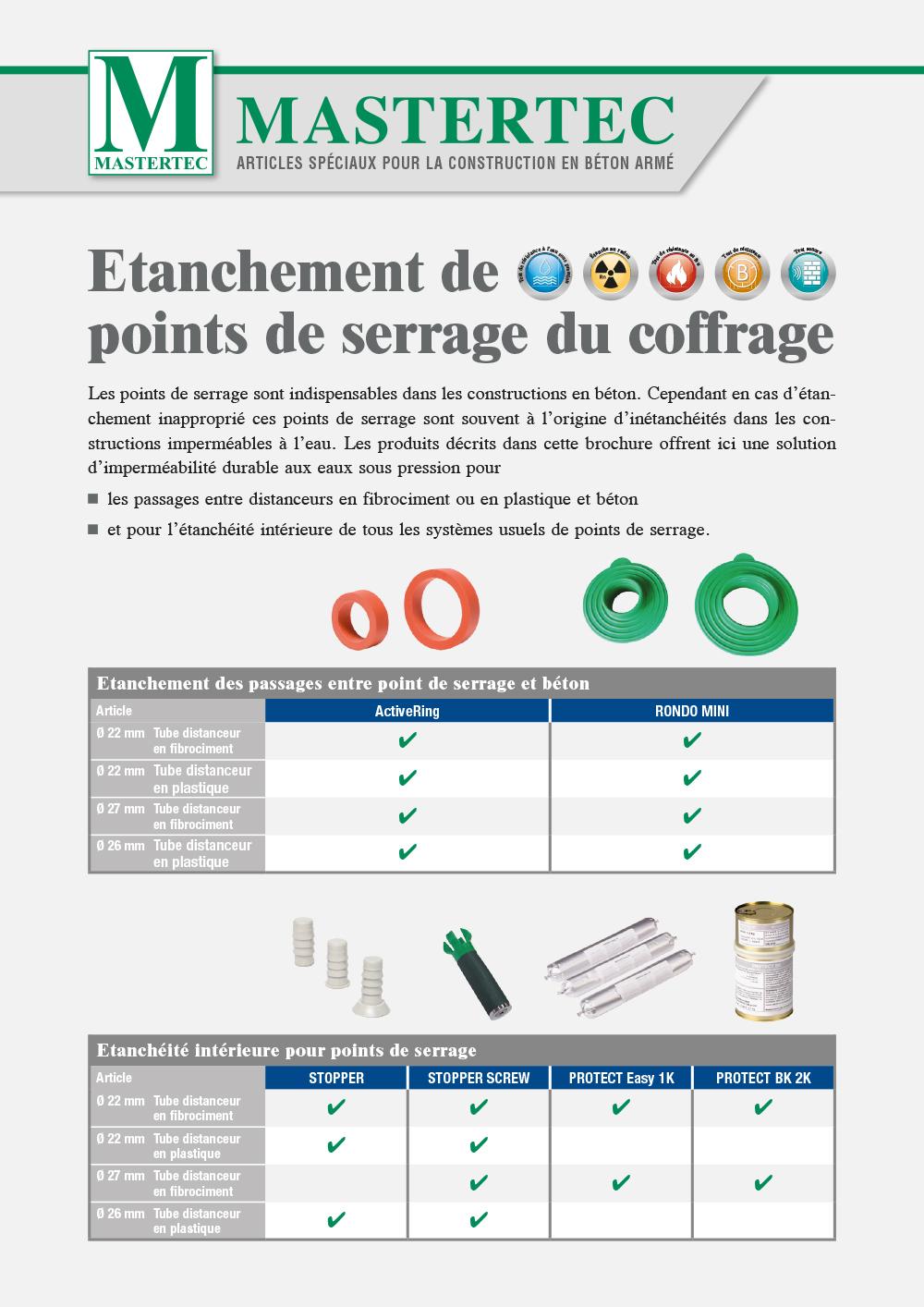 Brochure Etanchéité des points de serrage du coffrage